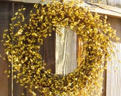 Berry Wreath for Spring - Yellow - pip berries - Easter Wreath - Door Wreath