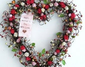 Spring heart shaped wreath - Spring Door Decoration with Vintage Lace Hanger -  Valentine wreath