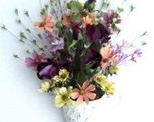 Wall Flower Arrangement - Summer Door Wreath - Pocket Cone Floral Decoration - Unique Design