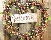 Heart Berry Wreath - Front Door Decoration - Welcome Sign