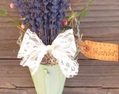 French Lavender Cone - Wall Pocket Wall Hanging in Mint Green - Scented Essential Oil Decoration