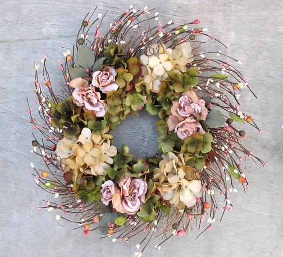 Silk Floral Wreath - Light Pink - Fall