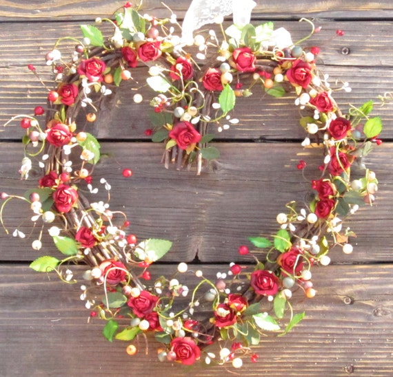 Heart Shaped wreath Valentines Day - red roses - front door decor
