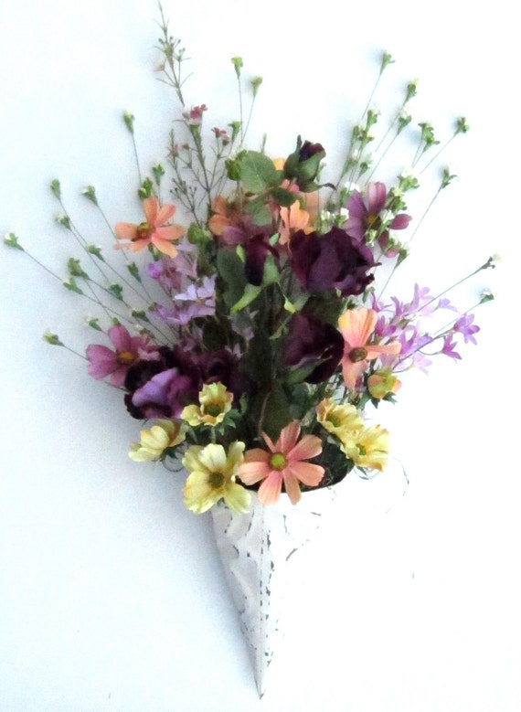 Wall Flower Arrangement Summer Door Wreath Pocket Cone