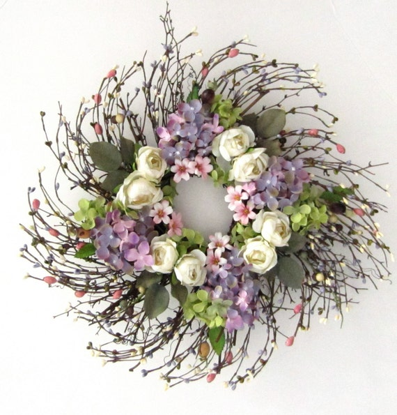 Spring wreath - Mothers Day - door wreath - silk floral wreath