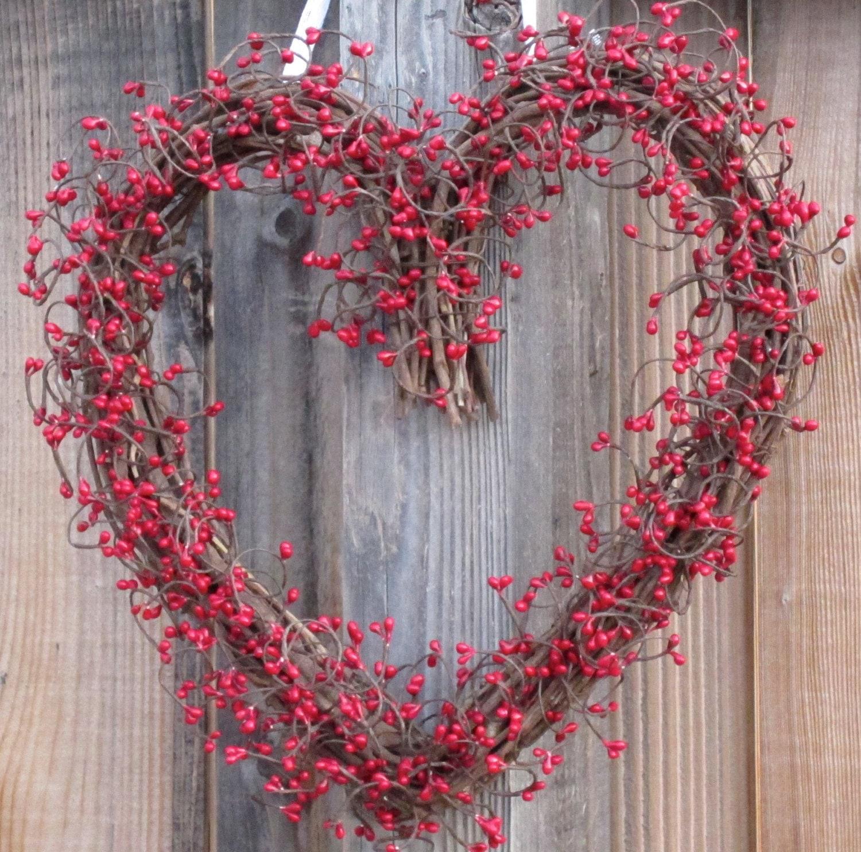 Heart Shaped Wreath Red Berry Wreath Valentines Day Door