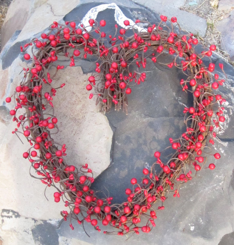 Heart Shaped Wreath Red Berries Valentines Day Door Wreath