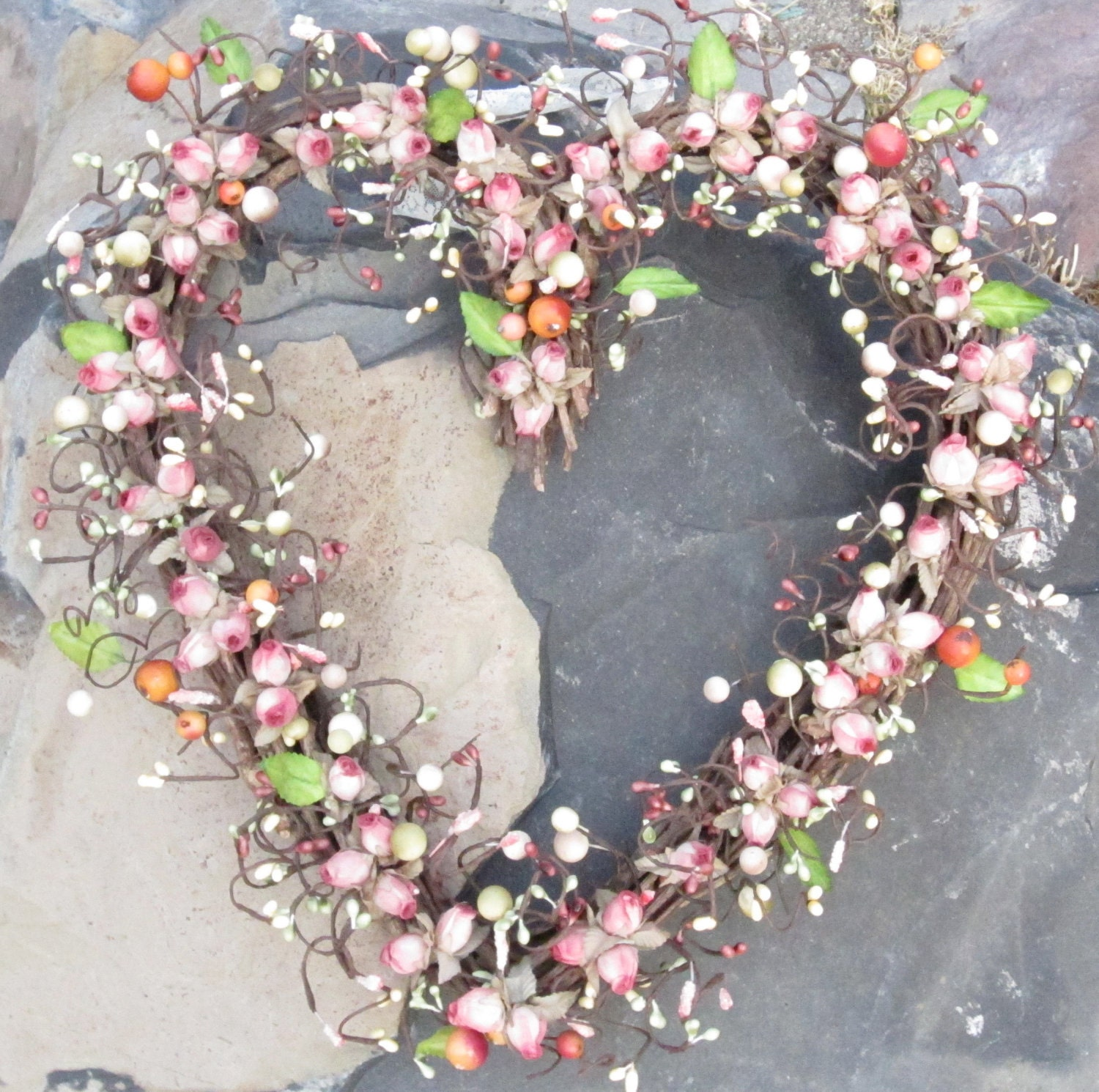 Heart shaped wreath delicate roses and berries by laurelsbylaurie