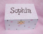 Musical jewelry box with ballerina, personalized, pink and brown design with swirls, flowers, dots