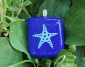 Blue Starfish Hand-painted Fused Glass Pendant