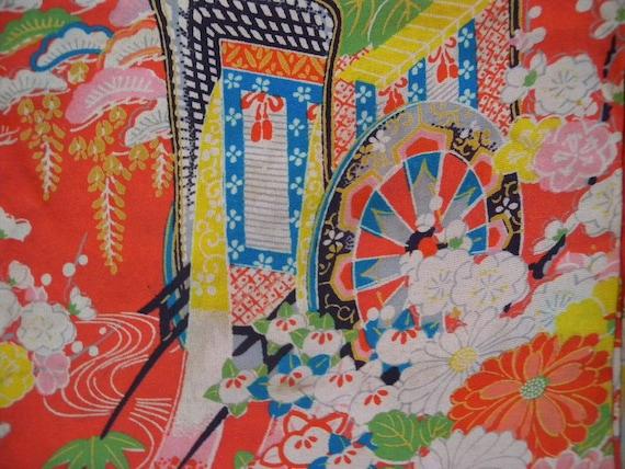 Antique  kimono 626, silk, for 1 to 2 year old children, ceremonial