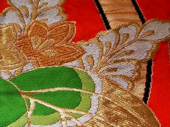 Obi 212, fukuro obi with generous use of gold colored thread