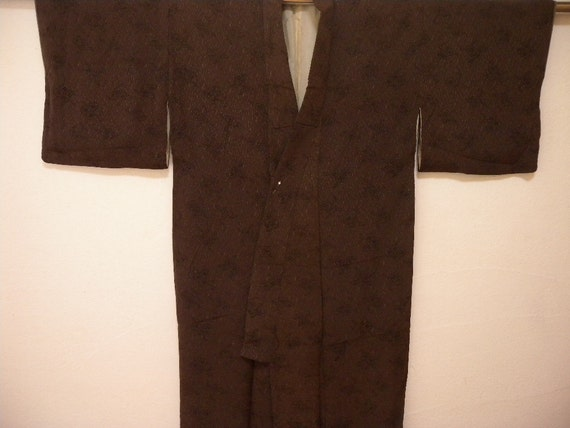 Vintage kimono 1466, brown base with black design elements, silk