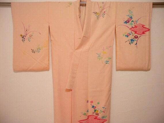 Vintage kimono 1587, houmongi, shibori, awase