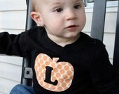 Orange Amy Butler Pumpkin Tee with Initial... Long Sleeve 12m, 18m, 24m, 3T, 4T, 5T
