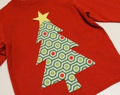 Modern Christmas Tree... Red Long Sleeve Tee... 12m, 18m, 24m, 3T, 4T, 5T