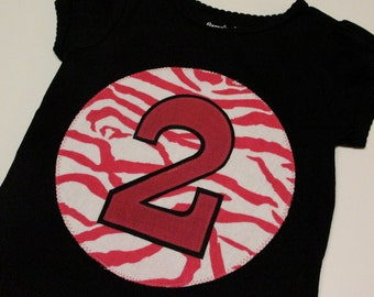 Ready to Ship... Happy 2nd Birthday Tee... Hot Pink Zebra