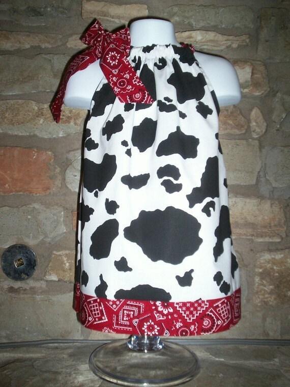 Cow Bandana Pillowcase Dresscustom Cow Print Girls