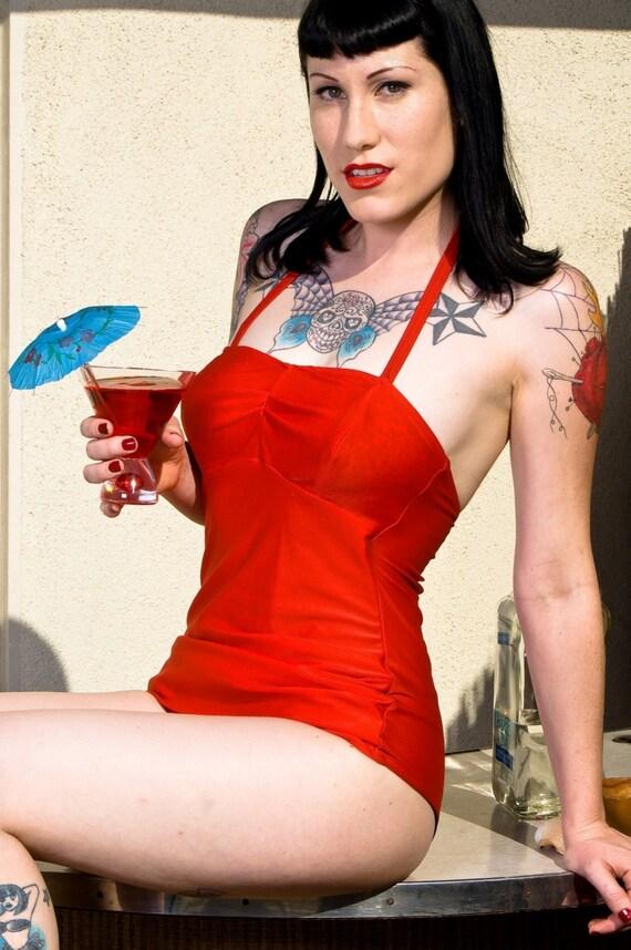 Red Retro bathing suit