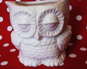 white ceramic owl from vintage 1970's mold