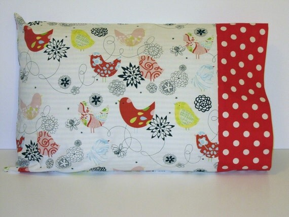 Red Birds- Travel or Toddler Pillow Case