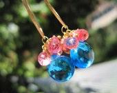 Pink Sands Earrings - Blue and grapefruit quartz