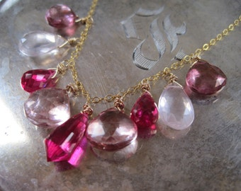 Red and Pink Topaz Gold Necklace - Stillness