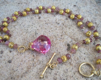 Winter Solstice Pink Topaz and Tourmaline Necklace