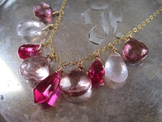 Red and Pink Topaz Gold Necklace - Stillness