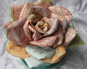 Handmade Paper Rose Vintage Map paper Sherbet shades San Diego Talladega for pin or clip