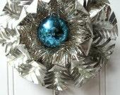Tart Tin ornament upcycled vintage handmade altered art Folk art Feathered  Peacock Blue Tinsel Star Snowflake Flower