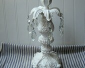 Upcycled vintage Candle holder candle stand ornate with chandelier prisms N1