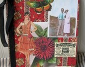 Altered Journal notebook Vintage red wallpaper Deco lady images Zinnia Butterfly One of a Kind