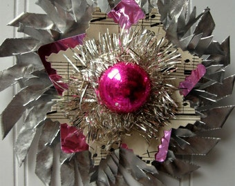 Tart Tin ornament upcycled vintage handmade altered art Folk art Hot Pink Tinsel Star Snowflake Flower