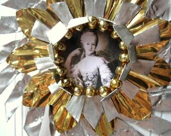 Tart Tin ornament upcycled vintage handmade altered art Folk art Marie Antoinette Star Snowflake Flower