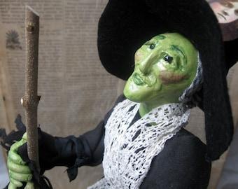 Handmade Folk Art Witch art doll OOAK polymer clay Hilda Halloween decor