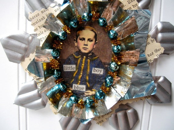 Tart Tin ornament upcycled vintage handmade altered art Folk art Little Boy Blue Star Snowflake Flower