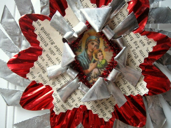 Tart Tin ornament upcycled vintage handmade altered art Folk art Red Madonna and Child Star Snowflake Flower