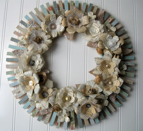 Clothespin Flower Wreath cream text flowers and aqua base sheet music book page flowers Cottage Chic