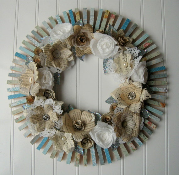 Clothespin Wreath Cream handmade paper flowers roses Jane Austen French text Aqua and vintage maps