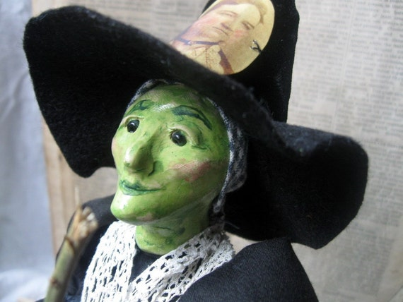 Handmade Folk Art Halloween Witch doll art doll OOAK Polymer Florine