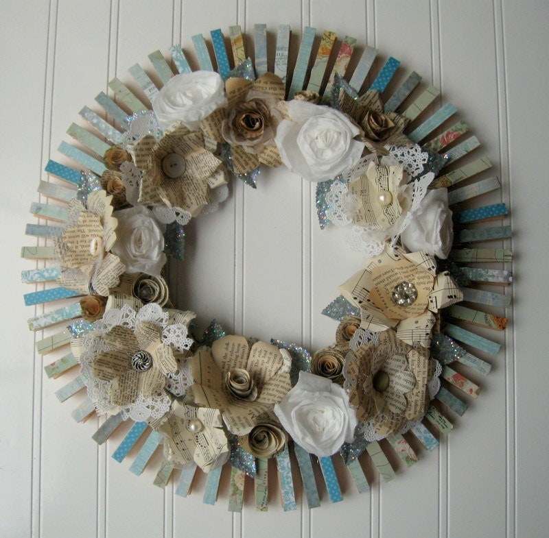 Clothespin Wreath Cream handmade paper by hopeandjoystudios