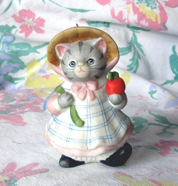 SALE... Vintage Kitty Cucumber Cat Figurine, Teacher Gift, School 1988