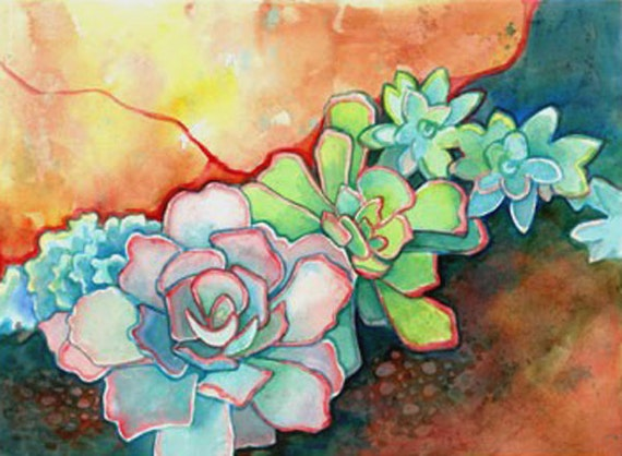 Succulent Garden Art Print... Limited Edition Watercolor Print