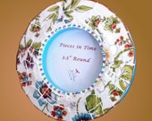 Mosaic Round Frame Tropical Flowers