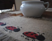 Burlap Jute Place Mats Ladybug Set of 4 Place Settings for Your Summer Gatherings and Outdoor Barbecues