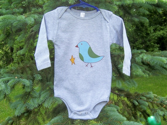 CLEARANCE SALE Onesie 12-18 mo, 18-24 mo Starlight Bird Hand Painted American Apparel