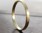 14K Yellow Gold Ring, 2mm Faceted Texture, Wedding Band, Sea Babe Jewelry