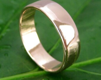 14K Rose Gold Wedding Band 5mm Wide Ring size 6 through 8 this listing, any size available