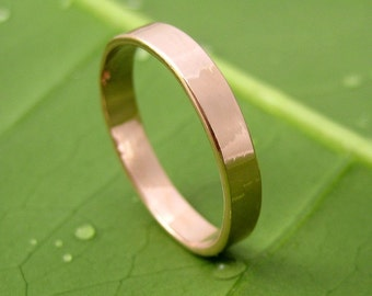 14K Rose Gold Wedding Band, 3mm Smooth Polished finish, Sea Babe Jewelry